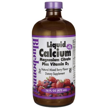 Bluebonnet Liquid Calcium Magnesium Citrate, Mixed Berry, 16 FL Oz