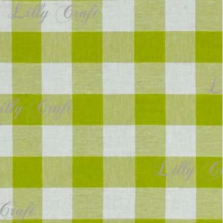 Gingham Checkered Poly Poplin 1 Inch Apple Green Fabric - Sold By The Yard - 57