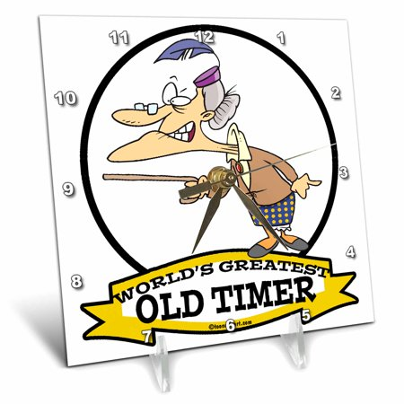 3dRose Funny Worlds Greatest Old Timer Lady Cartoon, Desk Clock, 6 by 6-inch
