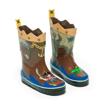 Kids Pirate Boot Covers (Kidorable Boys Brown Pirate Treasure Map Lined Rubber Rain Boots 11-2)