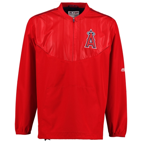 Los Angeles Angels Majestic On Field Cool Base Training Half-Zip Jacket - Red