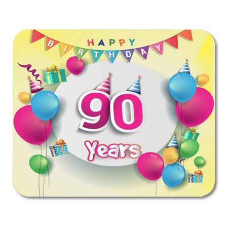 LADDKE 90Th Years Anniversary Celebration Birthday Design with Box and Balloons Colorful for The Party of Ninety Mousepad Mouse Pad Mouse Mat 9x10 inch](Ideas For 90th Birthday Celebrations)