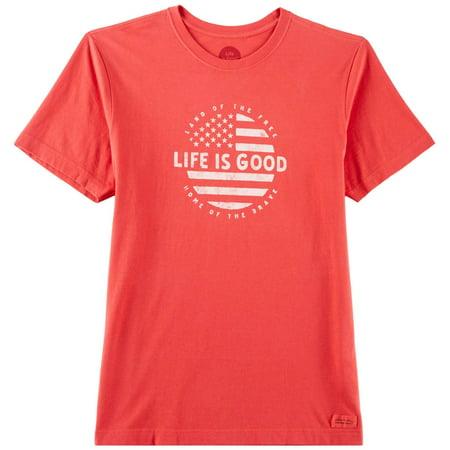 Life Is Good Mens Circle Flag Logo T-Shirt ()