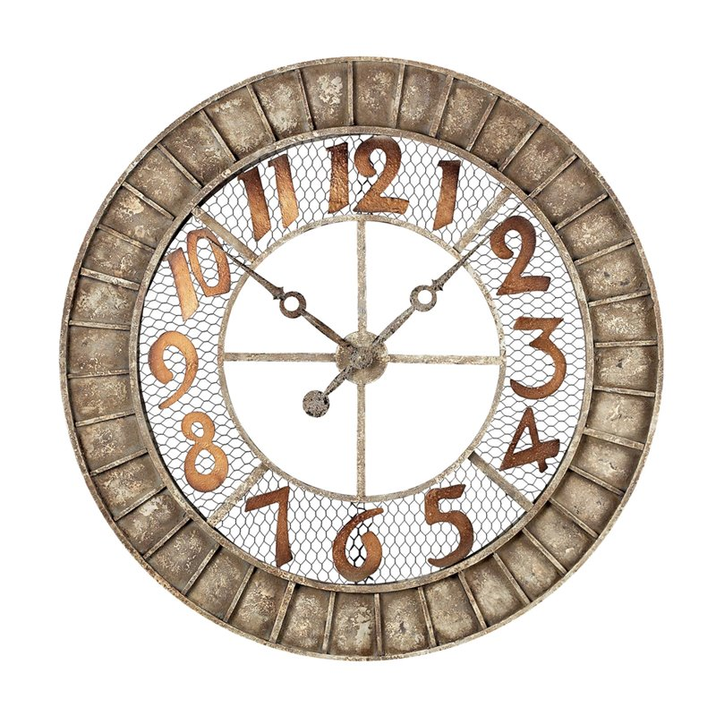 Sterling Round Metal Outdoor Wall Clock With Antique Cream Finish 128-1001