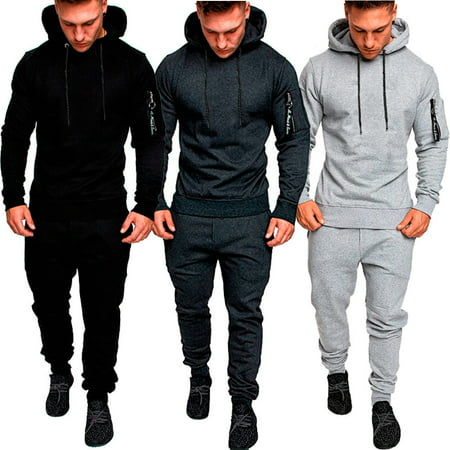Mens Tracksuit Top Bottom Sport Jogging Sweat Suit Trousers Pant Hoodie