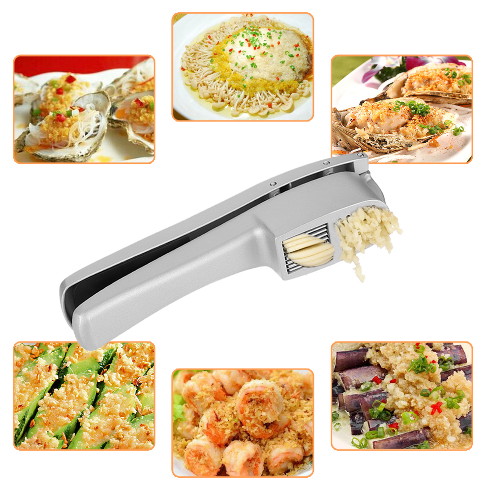 Anself Aluminum Alloy Manual Hand Squeeze Garlic Press Slicer Crush Kitchen Tool