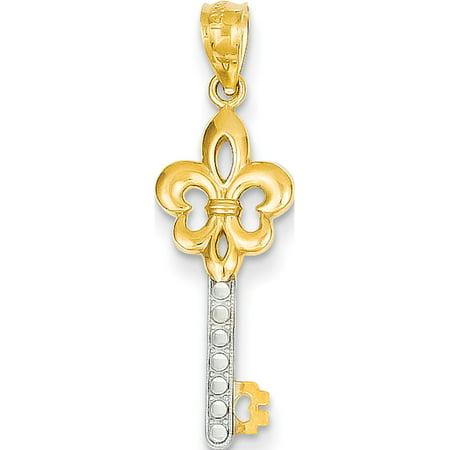 Leslies Fine Jewelry Designer 14k Yellow Gold w/Rhodium Yellow Rhodium Plated Diamond Cut Fleur de lis Key (9x29mm) Pendant Gift (Fleur De Lis Designer Jewelry Set)