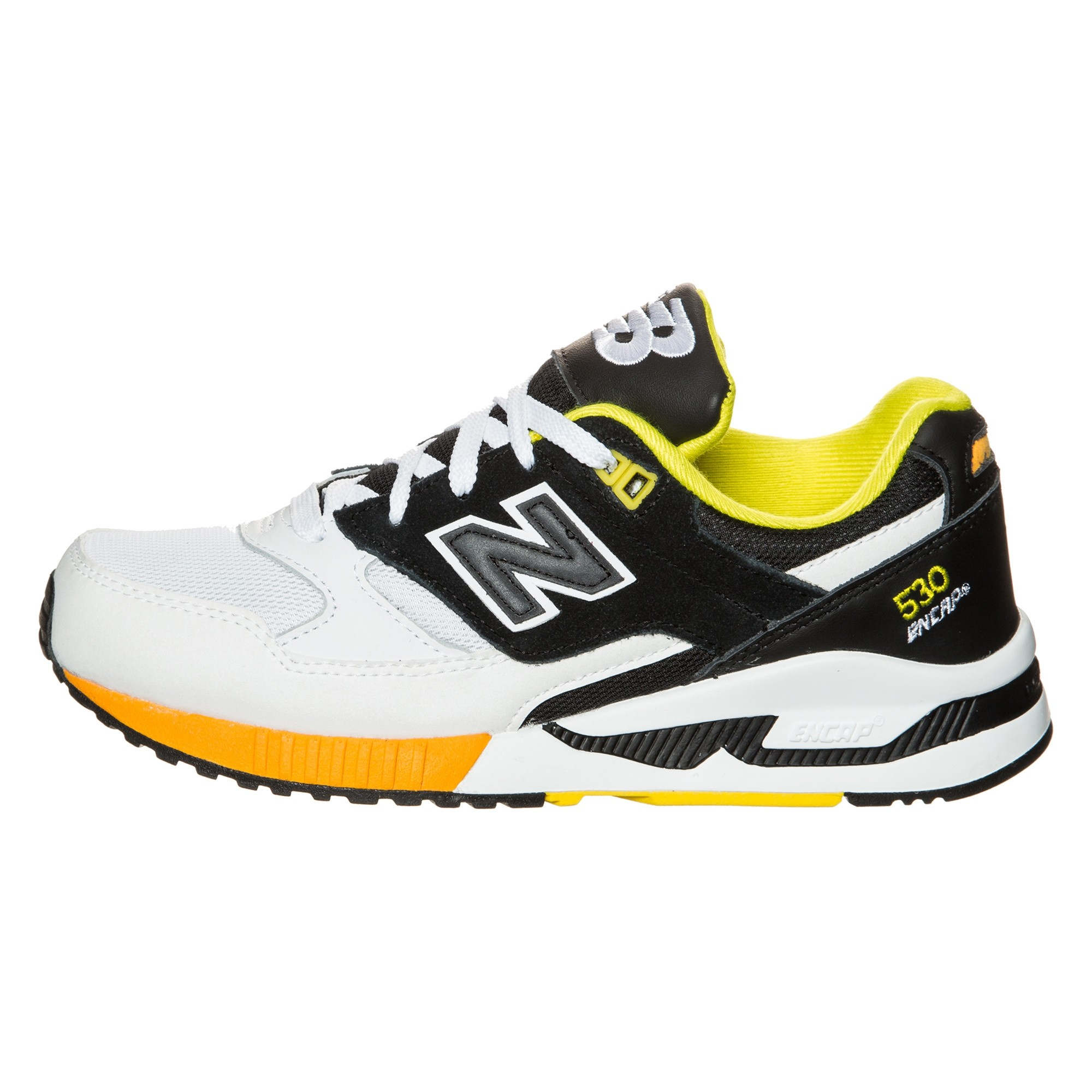 New Balance W530BOA:NB 530 90s Leather White Black Yellow Casual Comfort Sneaker by