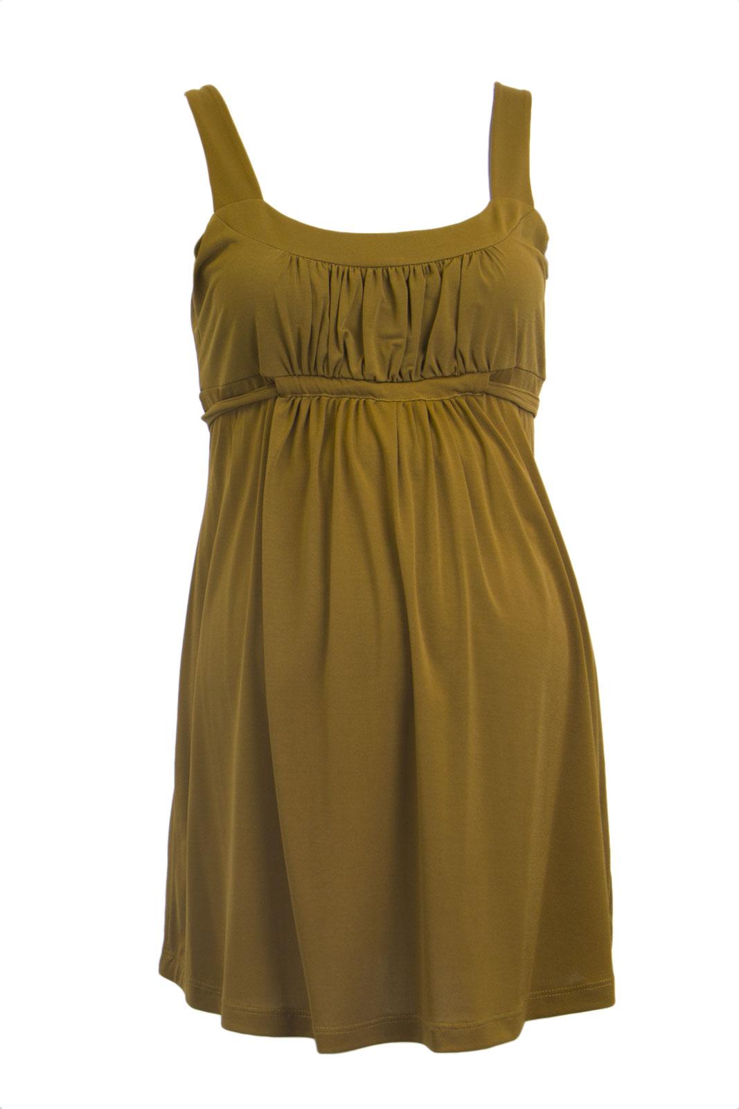 OLIAN Maternity Women's Caramel Self Tie Empire Waist Sleeveless Top