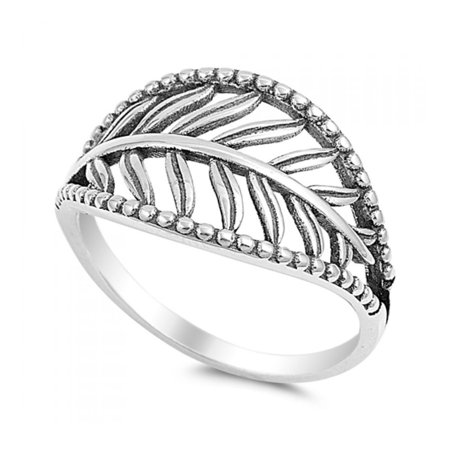 3a64abad39d70 Royal Design - 925 Sterling Silver Leaf Ring - Walmart.com