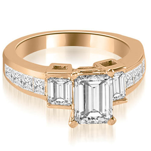 """""""2.40 cttw. 14K Rose Gold Channel Set Diamond Princess and Emerald Cut Engagement Ring (I1, H-I)"""""""