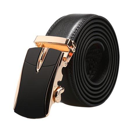 """Men Automatic Buckle Business Ratchet Leather Belt Width 1 3/8"""" Black 160cm - image 6 of 6"""