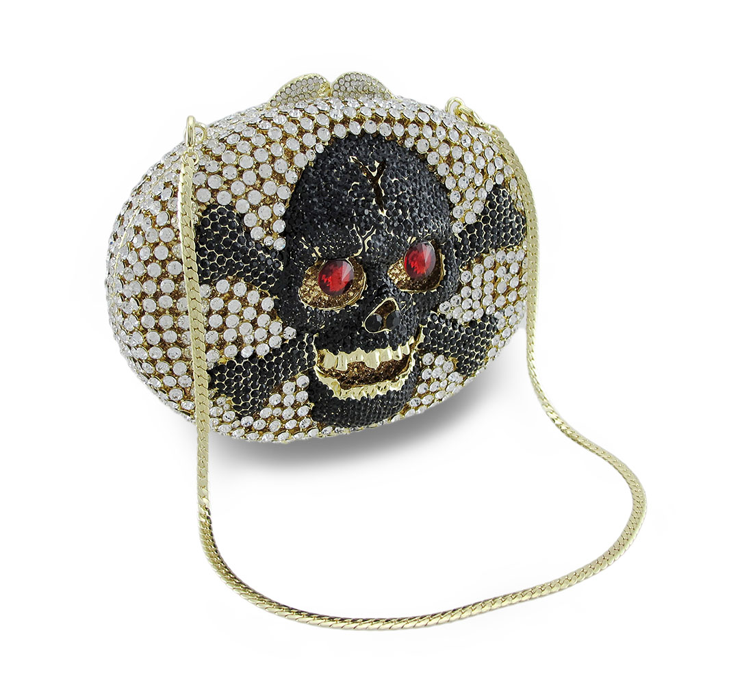Rhinestone Covered Skull and Crossbones Clutch Purse Even...