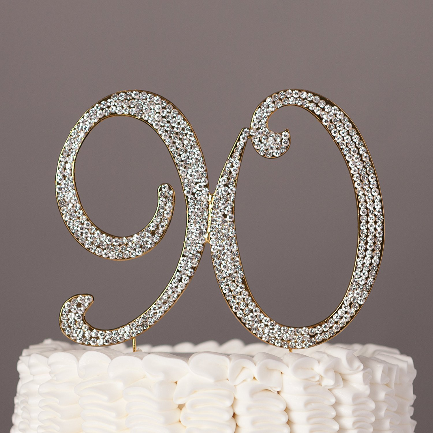 90 Cake Topper For 90th Birthday Rhinestone Number Party Supplies Decoration Ideas Gold