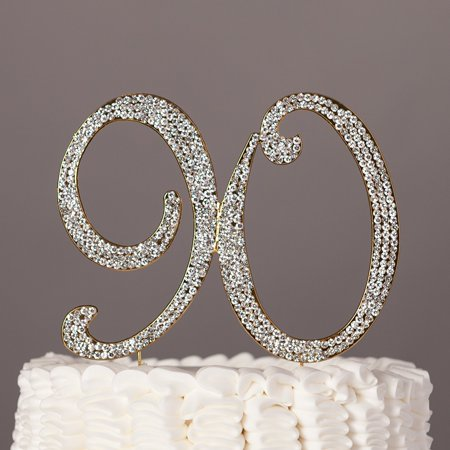 90 Cake Topper for 90th Birthday Rhinestone Number Party Supplies & Decoration Ideas (Gold)