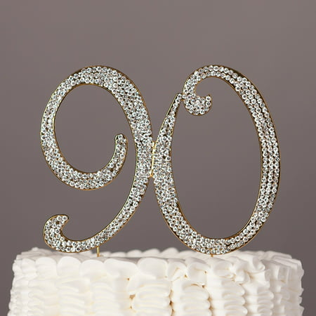 90 Cake Topper for 90th Birthday Rhinestone Number Party Supplies & Decoration Ideas (Gold) (Table Number Ideas)
