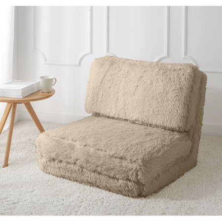 Mainstays Long Hair Faux Fur Flip Chair, Multiple