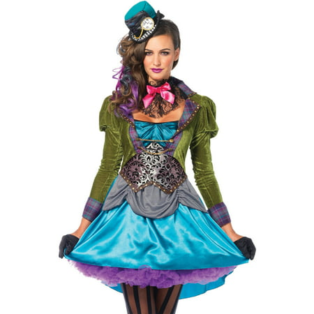 Leg Avenue Women's Deluxe Wonderland Mad Hatter Halloween Costume - Miss Mad Hatter Halloween Costume