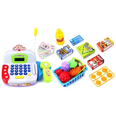 Super Amusement Educational Pretend Play Battery Operated Toy Cash Register W  Working Scanner  Microphone  Money And Credit Card  Groceries