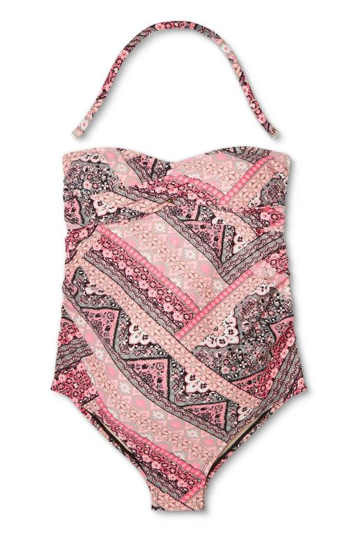 Isabel Maternity Pink Paisley Maternity One Piece Swim Suit (M) by