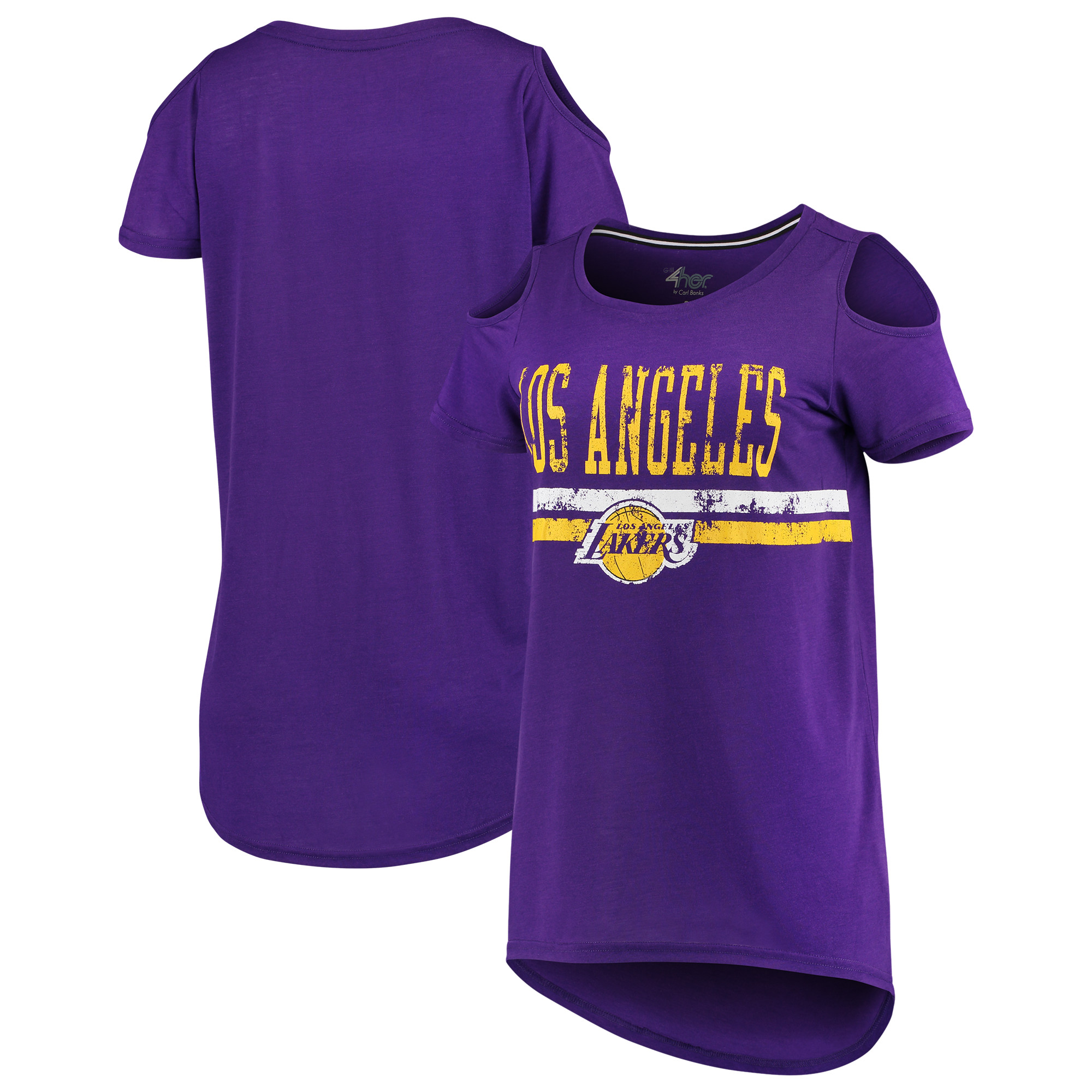 Los Angeles Lakers G-III 4Her by Carl Banks Women's Nothing but Net Cold Shoulder Scoop Neck T-Shirt - Purple