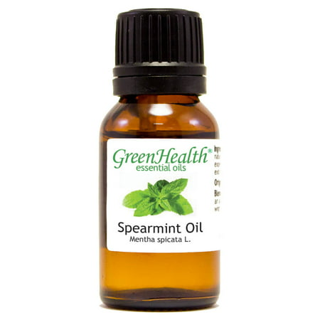 Spearmint Essential Oil - 1/2 fl oz (15 ml) Glass Bottle w/ Euro Dropper - 100% Pure Essential Oil by GreenHealth Essential Oil 1/2 Oz Bottle