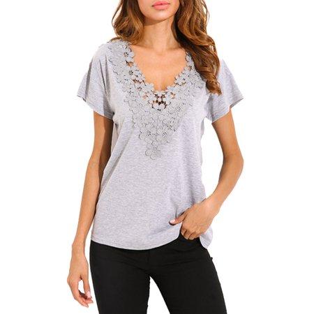 Women Short Sleeve Croceht Tank Tops Floral Detail Blouse T-Shirts