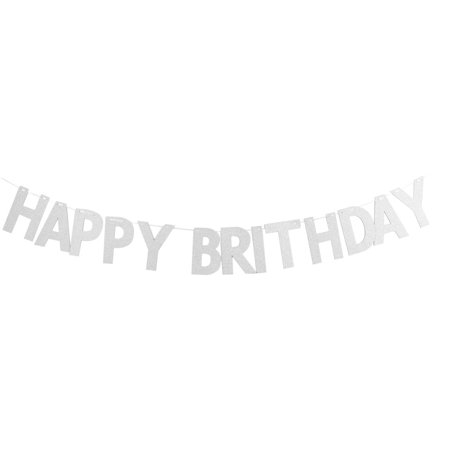 Paper HAPPY BIRTHDAY Letters Decor Photo Prop Bunting Banner Silver Tone Set (Happy Birthday Decor)