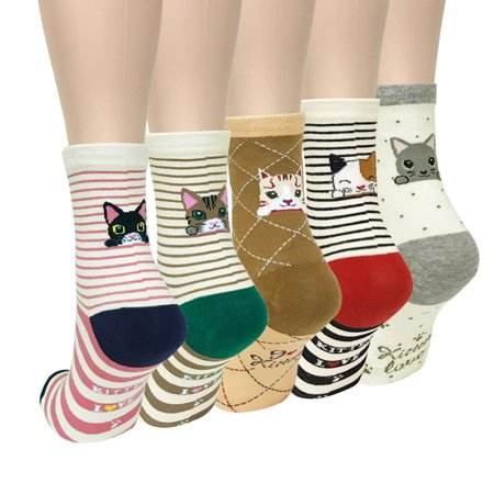 Wrapables® Novelty Animal Print Crew Socks (Set of 5), Cutie Cat