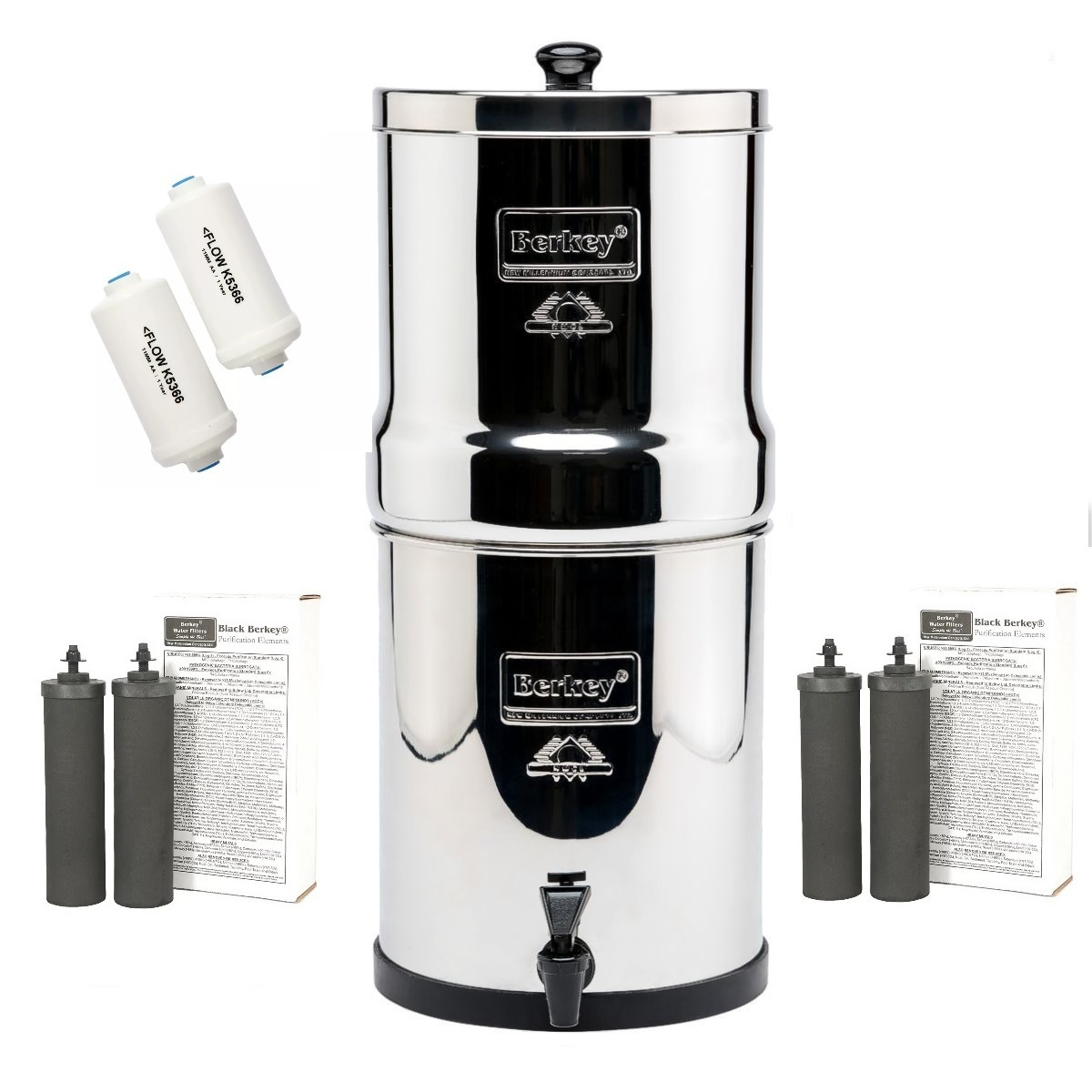 Berkey Crown Water Filter with 4 Black and 2PF2 Filters