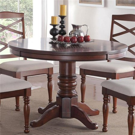 Benzara Bm171284 30 X 48 X 48 In Round Wooden Dining Table With Sturdy Base Brown