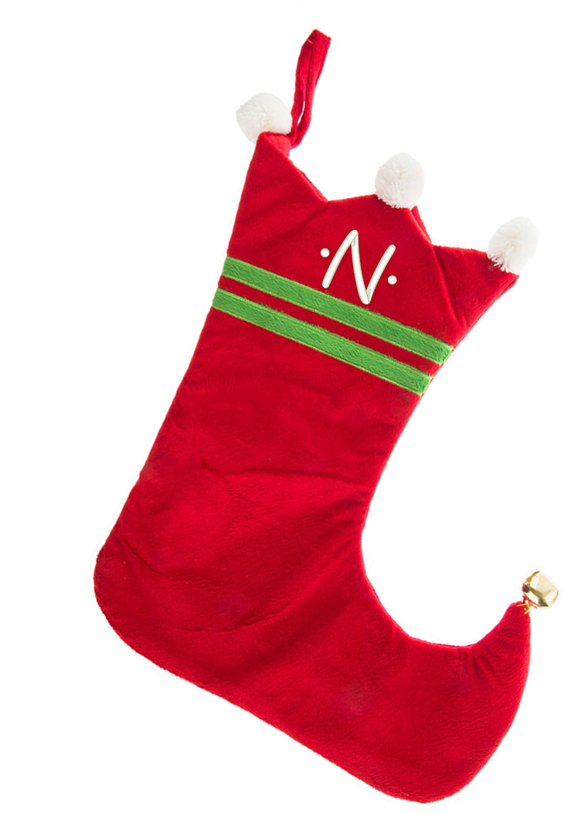 Initial M Monogrammed Me Embroidered Initial Christmas Stocking Red and White Plush