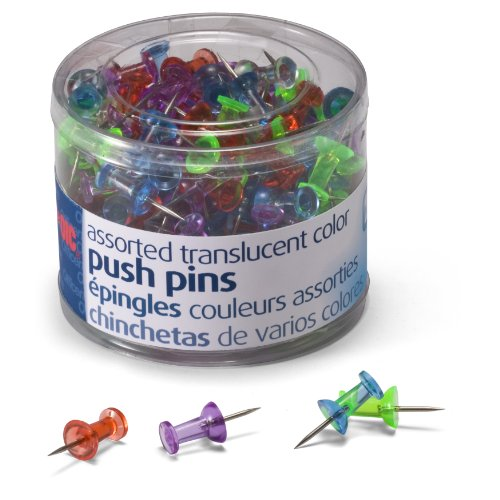 """Oic Translucent Push Pins - 0.50"""" Length0.25"""" Diameter - 200 / Pack - Assorted (OIC35710)"""