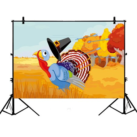 YKCG 7x5ft Cute Cartoon Turkey Escapes from the Arrows and Loses Happy Thanksgiving Photography Backdrops Polyester Photography Props Studio Photo Booth Props (Thanksgiving Backdrop)
