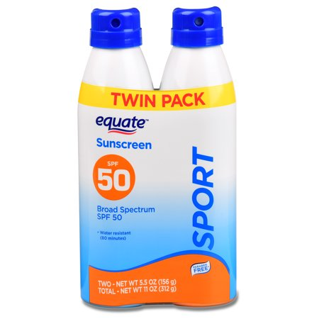 - Equate Sport Continuous Spray Sunscreen, Broad Spectrum, SPF 50, 10.9 Oz, Twin Pack