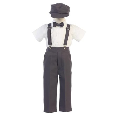 Little Boys Charcoal Suspender Pants Hat Outfit Set 2T-6 (Little Boy Ring Bearer Outfits)