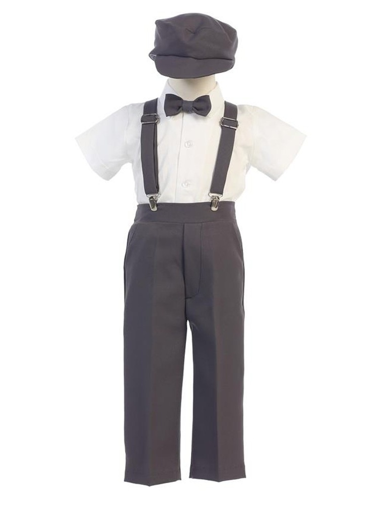 Little Boys Charcoal Suspender Pants Hat Outfit Set 2T-6