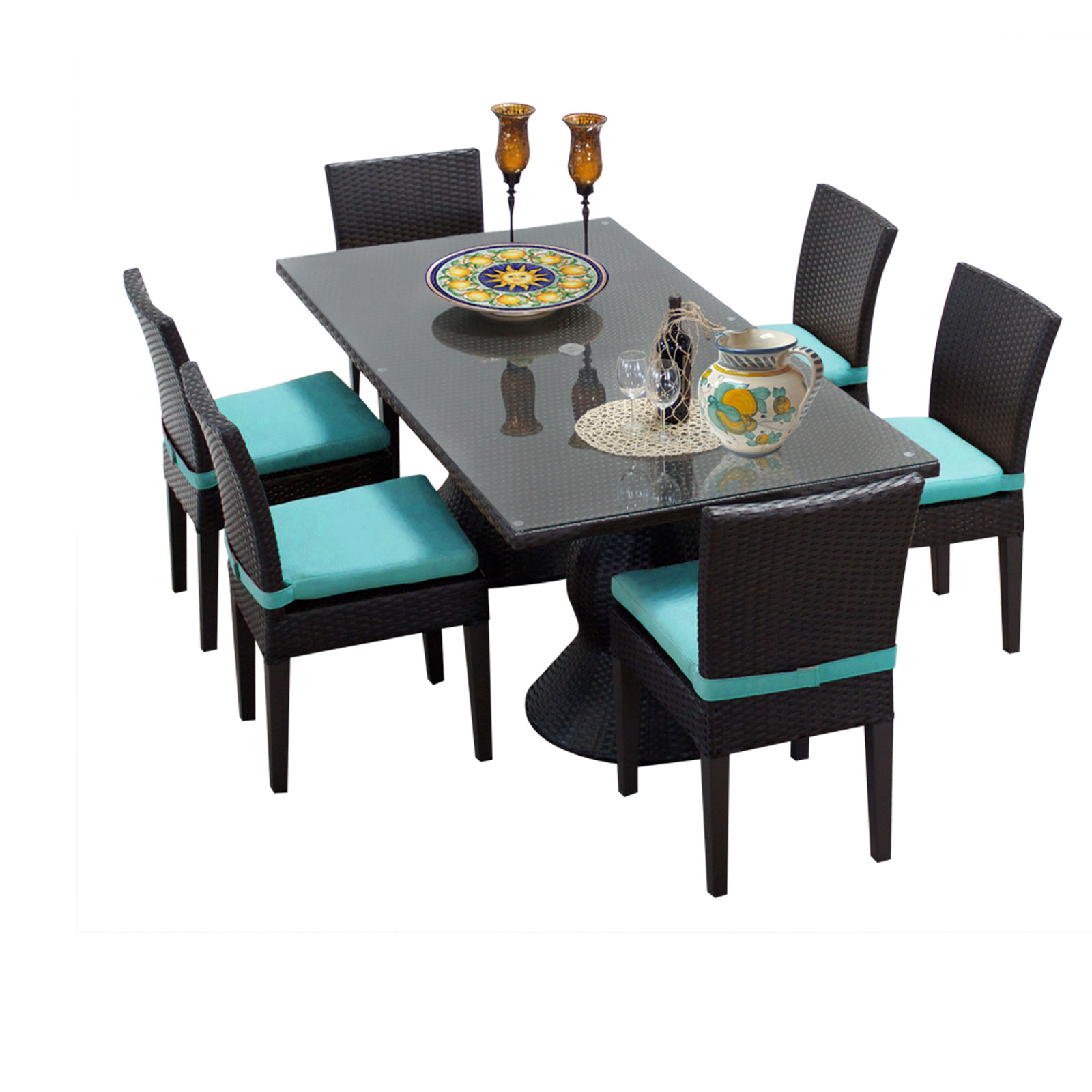 Saturn Rectangular Outdoor Patio Dining Table With 6 Chairs