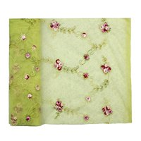 """Altotux 60-61"""" Olive Green Floral Embroidered Tulle Fabric Pink Burgundy Flower By Yard"""
