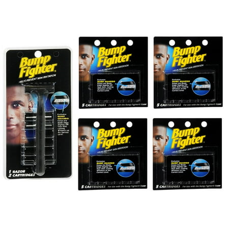 Bump Fighter Refill Razor W  2 Cartridges   Bump Fighter Refill Cartridge Blades   5 Ea   Pack Of 4    Scunci Black Roller Pins  18 Pcs