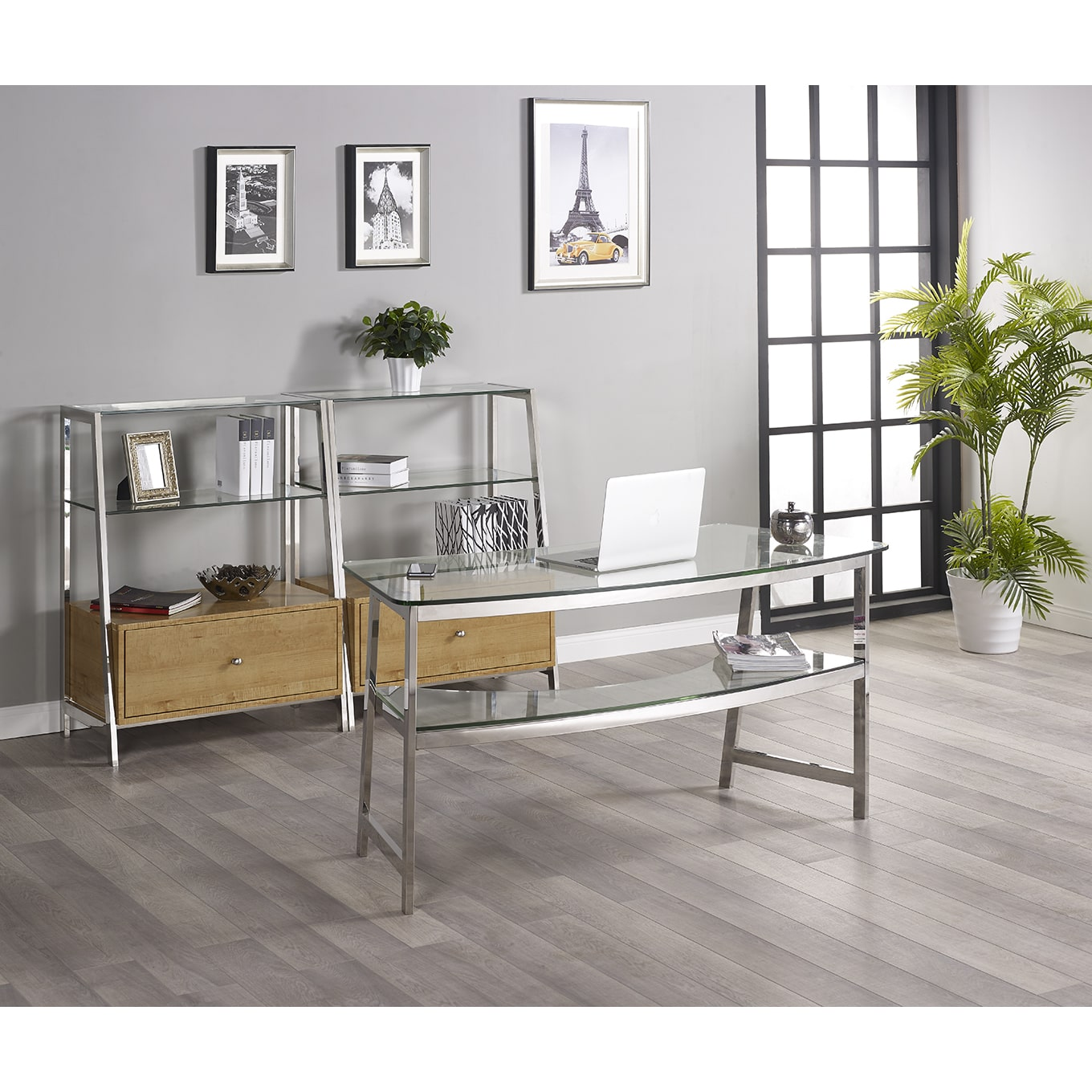 Turnkey Products LLC Tenzo 62-inch Glass Writing Desk with 2 Bookcases