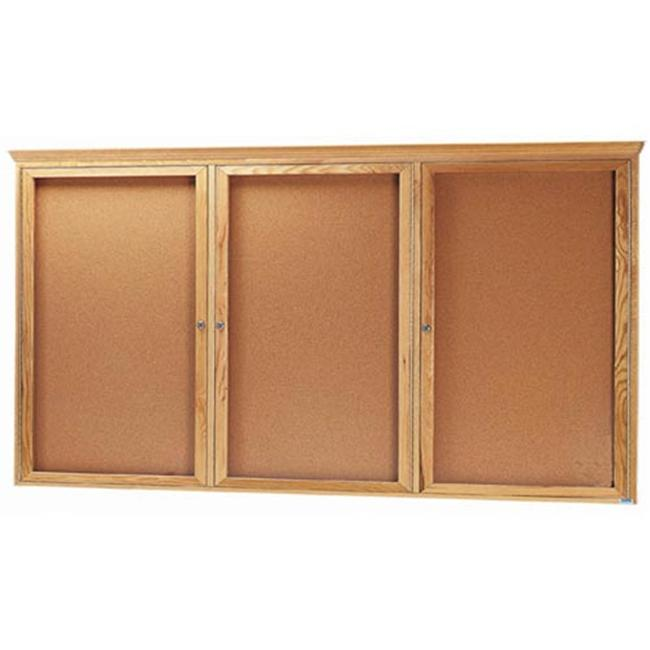 Aarco Products OBC4896RC 3-Door Enclosed Bulletin Board with Crown Molding - Natural Oak
