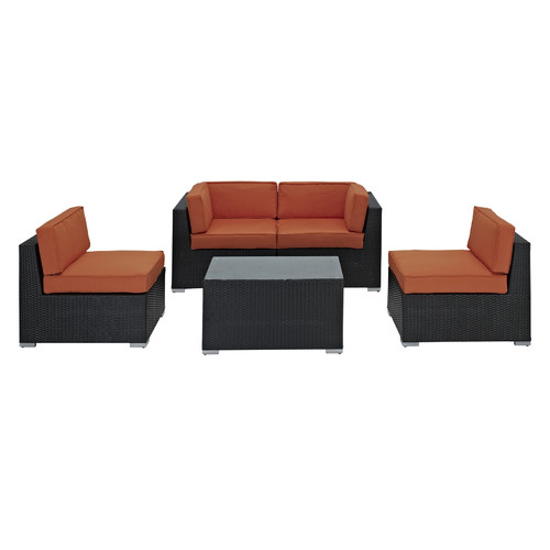 Modway Delight 5 Piece Outdoor Patio Sectional Set
