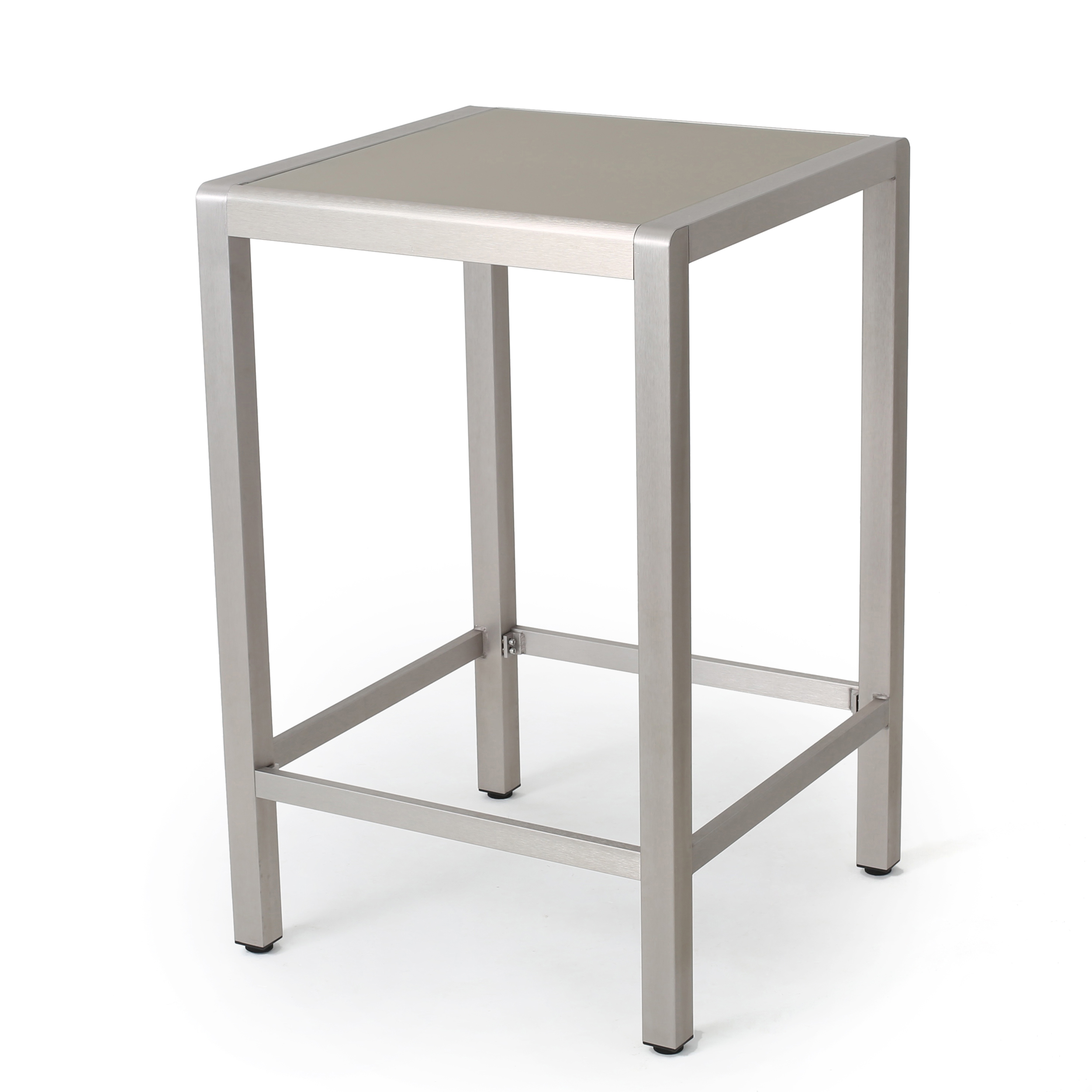 Capral Outdoor Alumnimum Bar Table with Glass Top, Grey