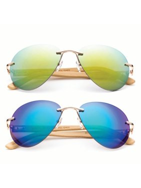 Product Image Newbee Fashion - Bamboo Arm Oversized Rimless Aviator  Sunglasses with Flash Lens Bamboo Sunglasses for Men f6a2b2384