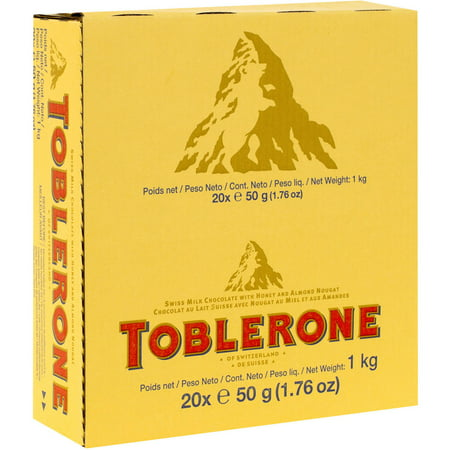 160 PACKS : Toblerone Swiss Milk Chocolate with Honey and Almond Nouga 1.7 Ounce