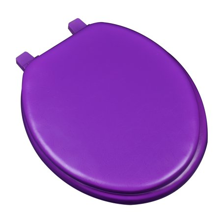 BathDecor Deluxe Soft Round Toilet Seat with a Closed Front in Purple. (White Wellworth Round Front Toilet)