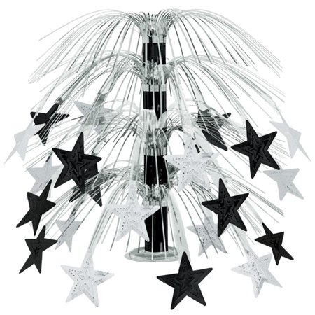 Club Pack of 6 Black and Silver Cascade Star Cut-Out Table Centerpiece Decoration 18