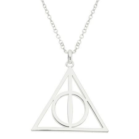Harry Potter Silver Plated Deathly Hollows Symbol Pendant Necklace, 18