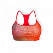 Stronger RX Orange Pattern Womens Sports Bra, Large